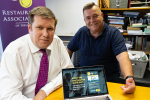 Adrian Cummins, Chief Executive of the Restaurants Association of Ireland with Brendan Kavanagh, CEO of HiUp Group and Olive Safety.